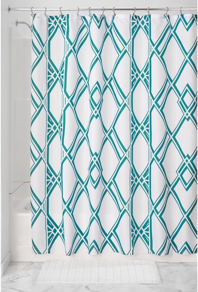 InterDesign Deco Geo rideau de douche tissu /à motif rideau baignoire /à /œillets renforc/és vert /émeraude rideau douche en polyester facile entretien