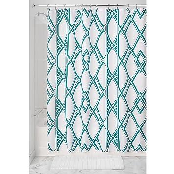 InterDesign Decorative Geometric Pattern Fabric Shower Curtain