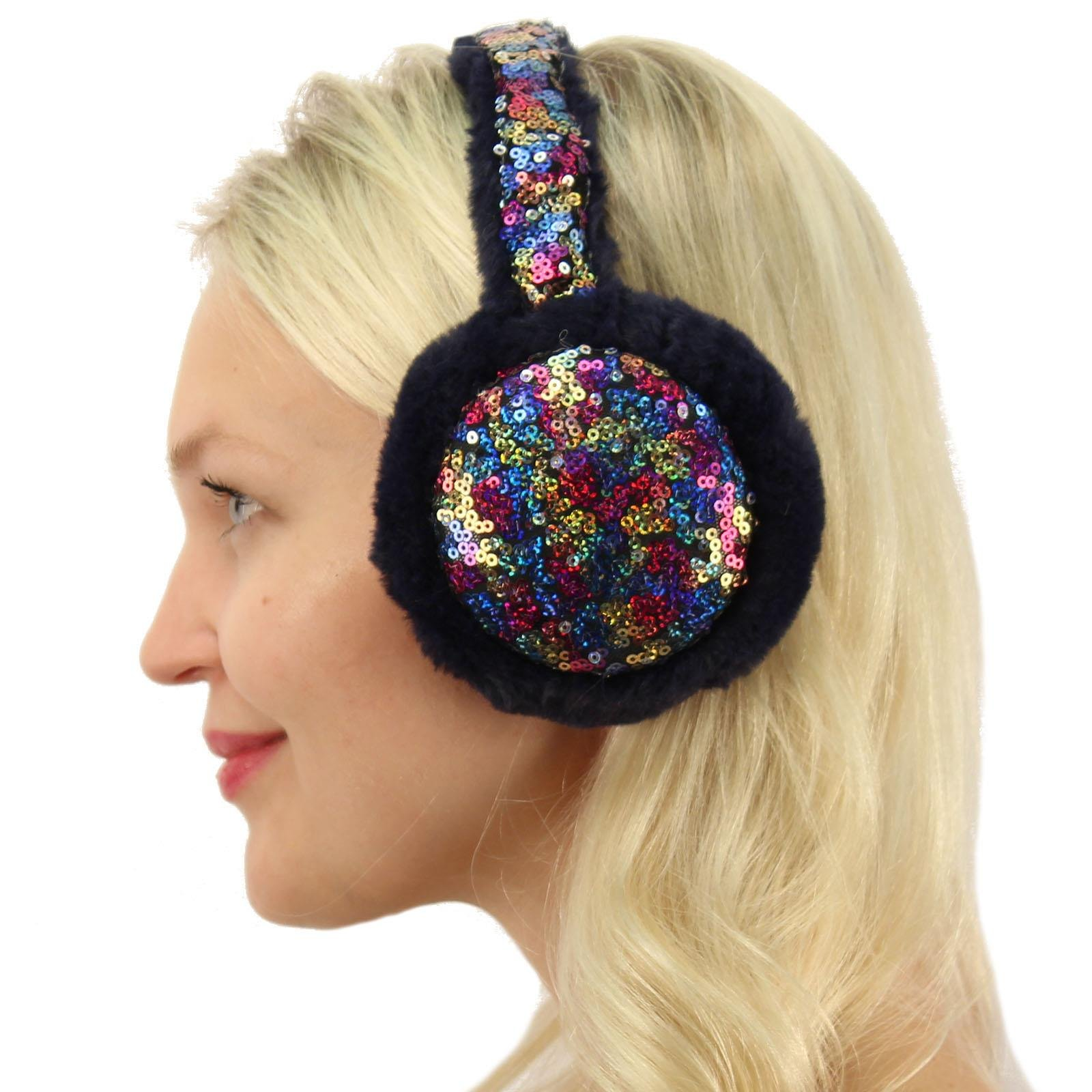 Winter Cute Metallic Sequins Soft Faux Fur Headband Earmuffs Earwarmer Ski Rainbow