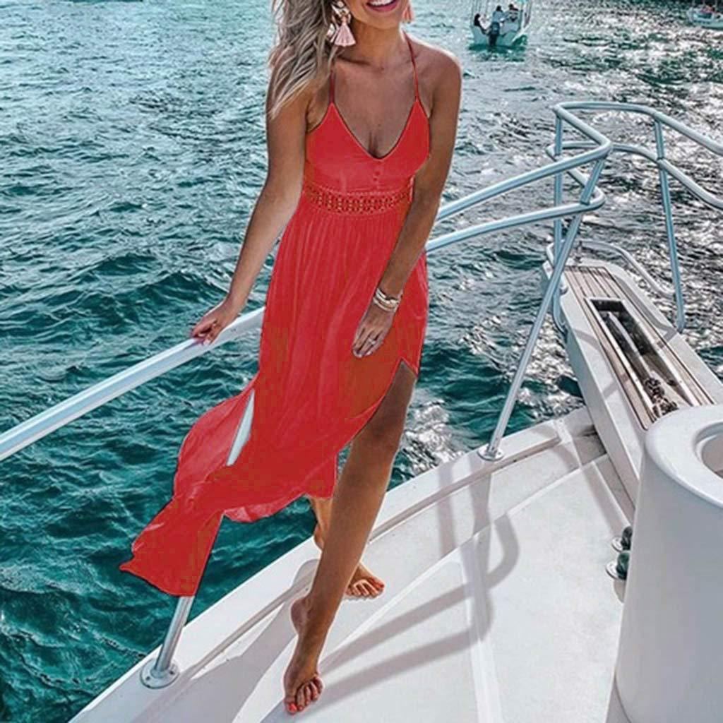 e44971cfa2 Amazon.com: Sunhusing Ladies Summer Solid Color Sexy Off-Shoulder Sling  Dress Bohemian Beach Style Long Maxi Dress: Clothing