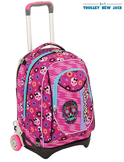 Carro mochila escolar SEVEN NEW JACK Maxi Girl 2018 Fucsia Morado Flores Calavera + 30 bolígrafos