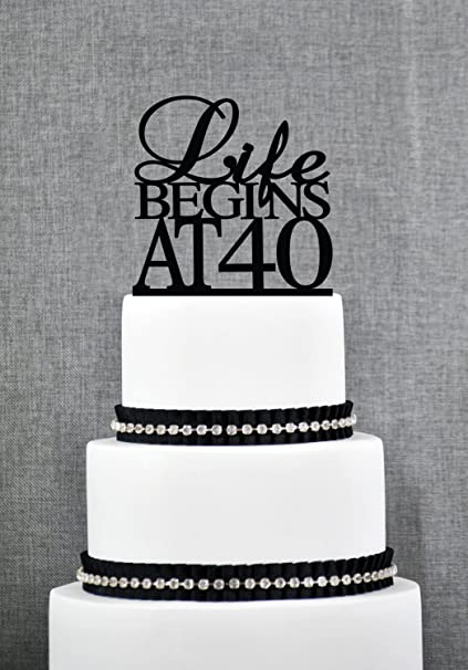 Life Begins At 40 Birthday Topper Elegant 40th Fortieth Cake Gift