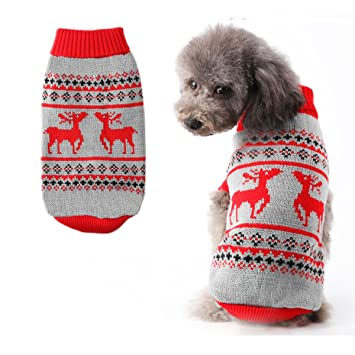 Dog Jumpers Warm Coat For Dogs Christmas Reindeer Knitting Patterns