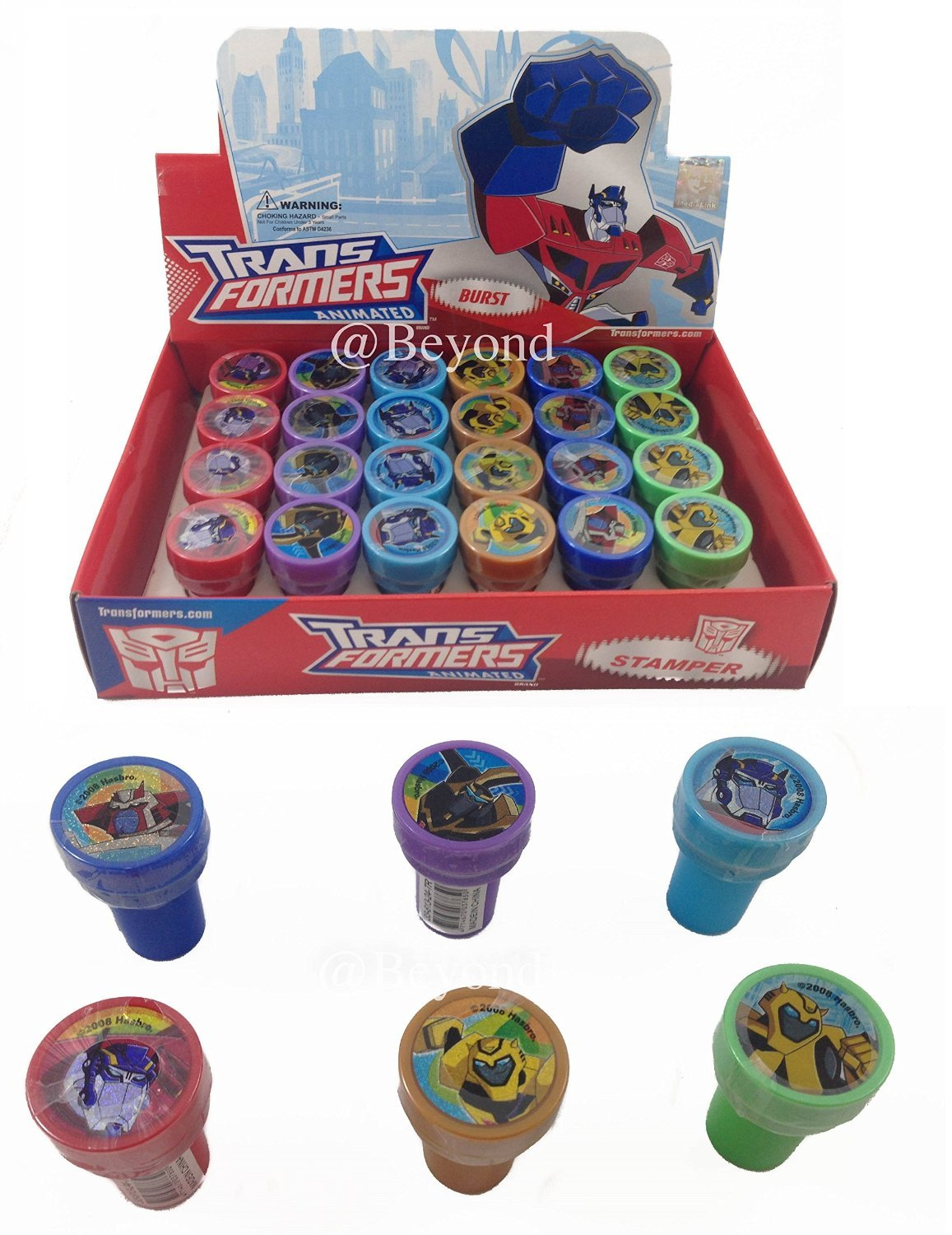 Complete Box Disney Transformers Self-inking Stamps Birthday Party Favors 24 Pieces