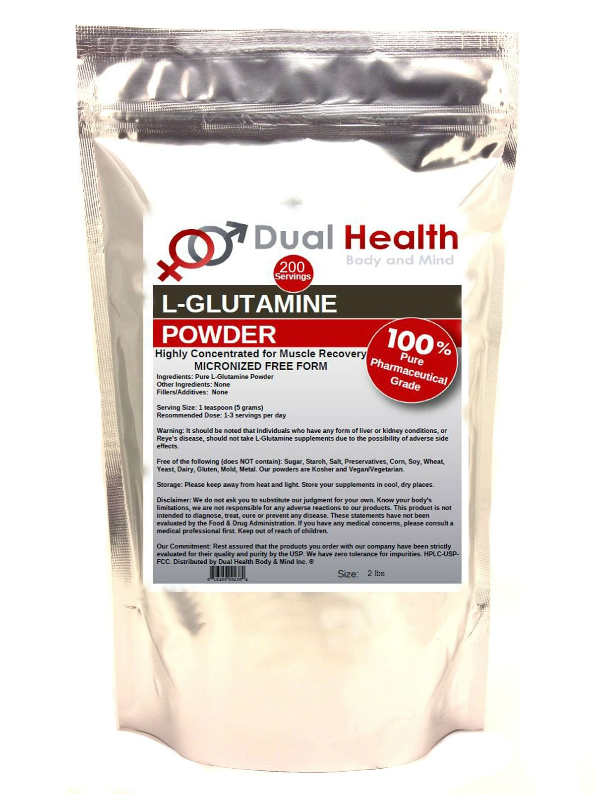 Pure L-Glutamine 5000mg Powder (2 lbs) Bulk Supplements