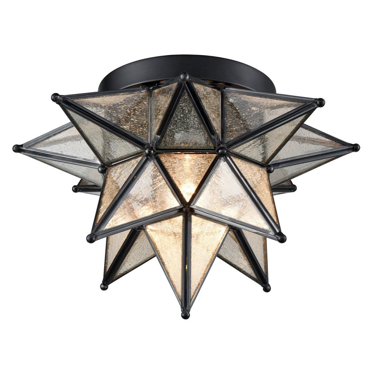 Dazhuan Moravian Star Light Flush Mount Celing Light Etched Seeded Glass Shade Boho Moroccan Ceiling Lamp for Kitchen Foyer, 1-Light