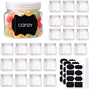 Mother's taste BB Hexagon Plastic Jars 3.5 Oz Clear Storage Jars Small Plastic Containers with Lids and Labels for Spices Candy Food Gifts Party Favors, 24 Pack