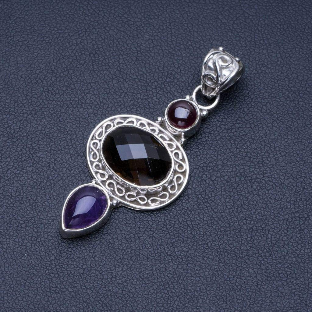 Natural Amethyst and Smoky Quartz Punk Style 925 Sterling Silver Pendant 2 Q1211