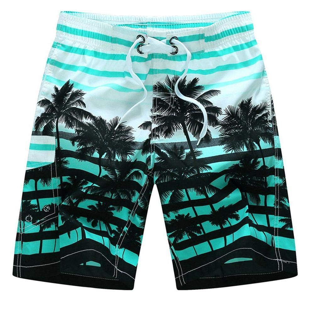 Nessere Men Casual Print Mid Waist Shorts Quick-Drying Swim Trunks Beachwear Board Shorts