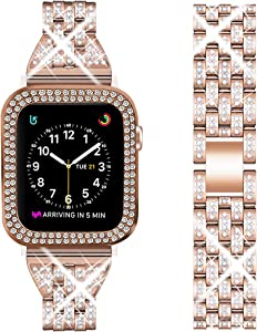 DSYTOM Compatible Apple Watch Band 44mm 42mm 38mm 40mm with Case Women,Rhinestone Metal Jewelry Wristband Strap with Bling PC Protective Case Replacement for iWatch Series 6 5 4 3 2 1(Rose gold)