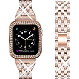 DSYTOM Compatible Apple Watch Band 40mm 38mm 42mm 44mm with Case Women,Rhinestone Metal Jewelry Wristband Strap with Bling PC