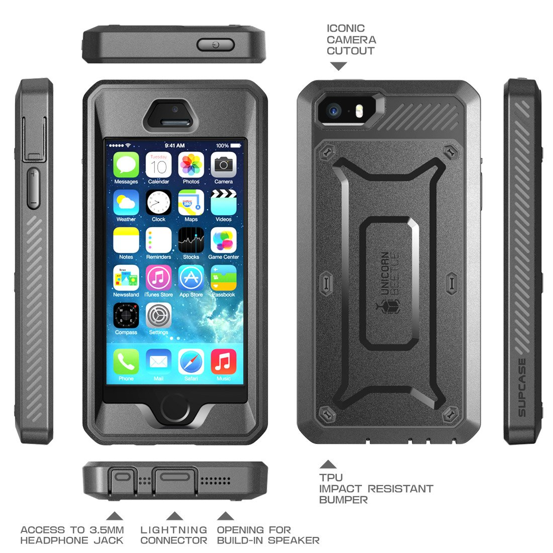 reputable site 80f74 6d660 iPhone SE Case, SUPCASE Full-body Rugged Holster Case with Built-in Screen  Protector for Apple iPhone SE (2016 Release/Compatible with iPhone 5S/5),  ...