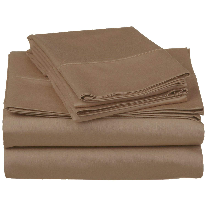 Beige Solid 250TC 100/% Cotton Sheet Set 250-Thread-Count Egyptian Cotton Bed Sheet Set 30 Inch Extra Deep Pocket Alaska King Size Dreamz Bedding
