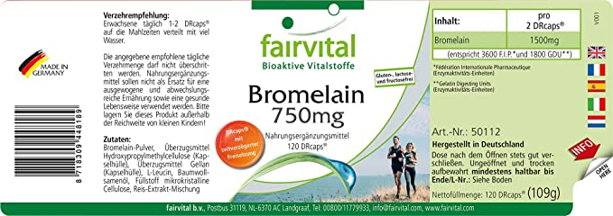 Bromelaína 750mg - GRAN DOSIS - VEGANO - 120 cápsulas ...