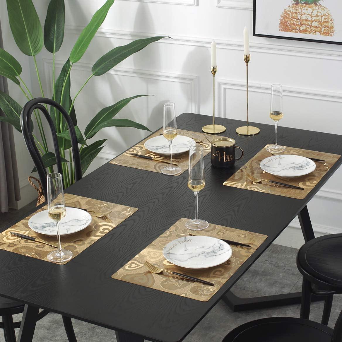 DUOFIRE Vinyl Placemats Washable PVC Kitchen Table Mats Crack Pattern:Brown-Set of 4