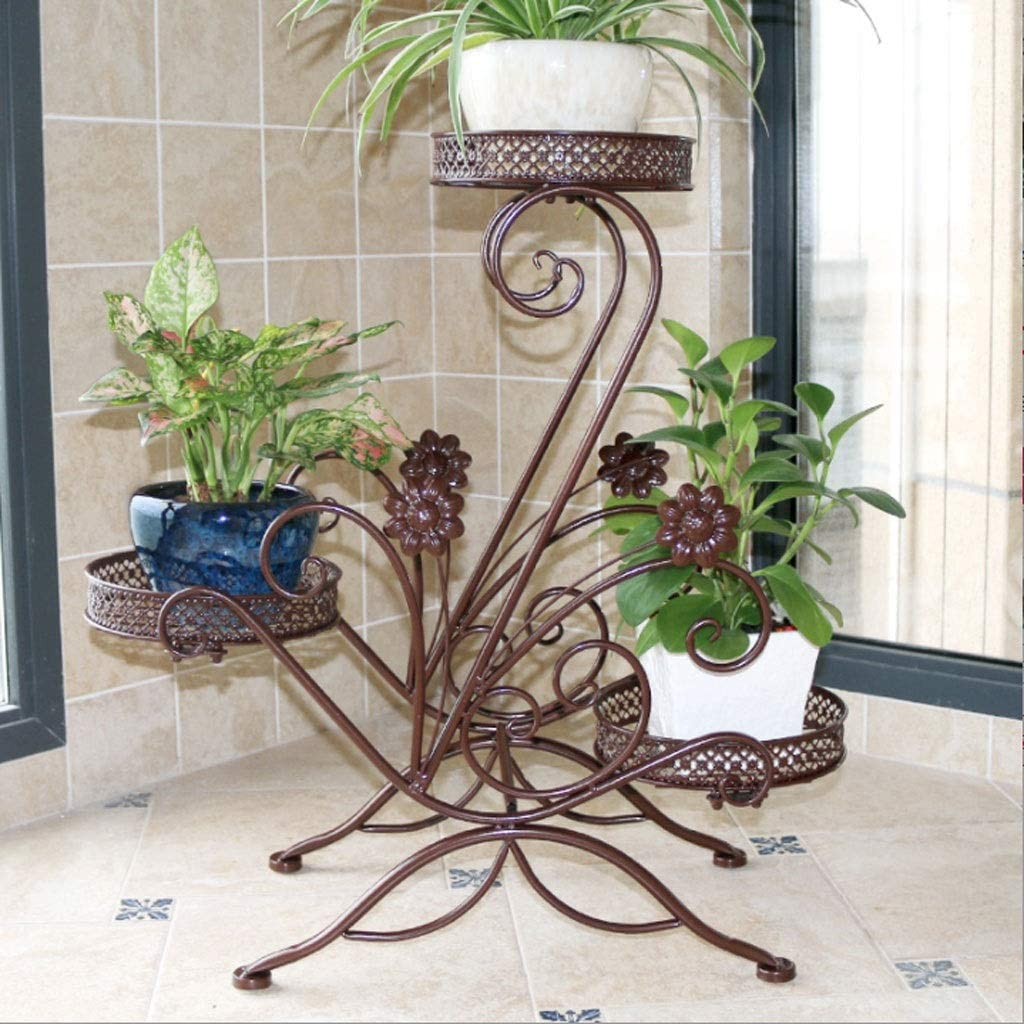 3 Tiered Scroll Decorative Black Metal Garden Patio Stands Plant Flower Pot Rack Display Shelf Holds 3 Flower Pot Plant Containers Accessories Accessories