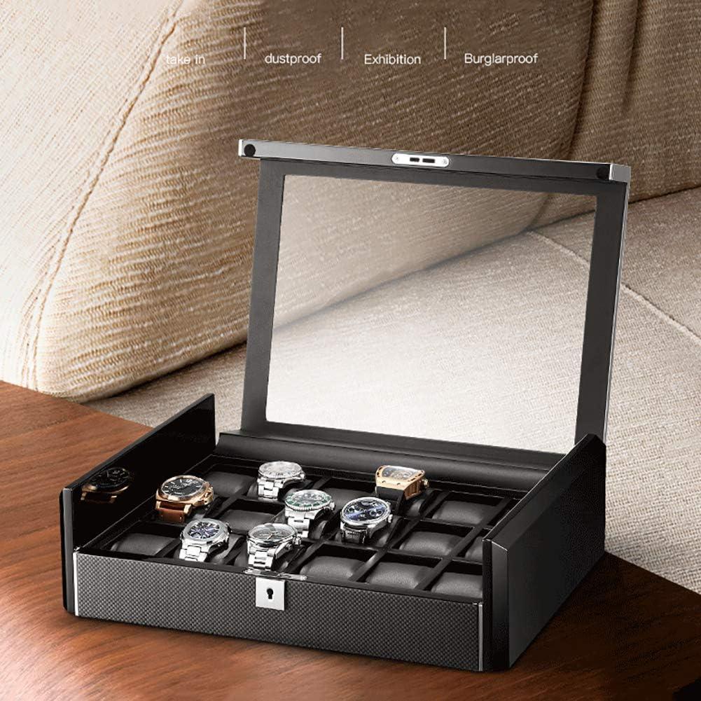LXYZ Cassa dell\'orologio in Legno massello per Uomo Scatola antifurto per Orologi Cassa in Fibra di Carbonio Orologio Meccanico con Serratura Vetro Acrilico-C 11x21x22cm C