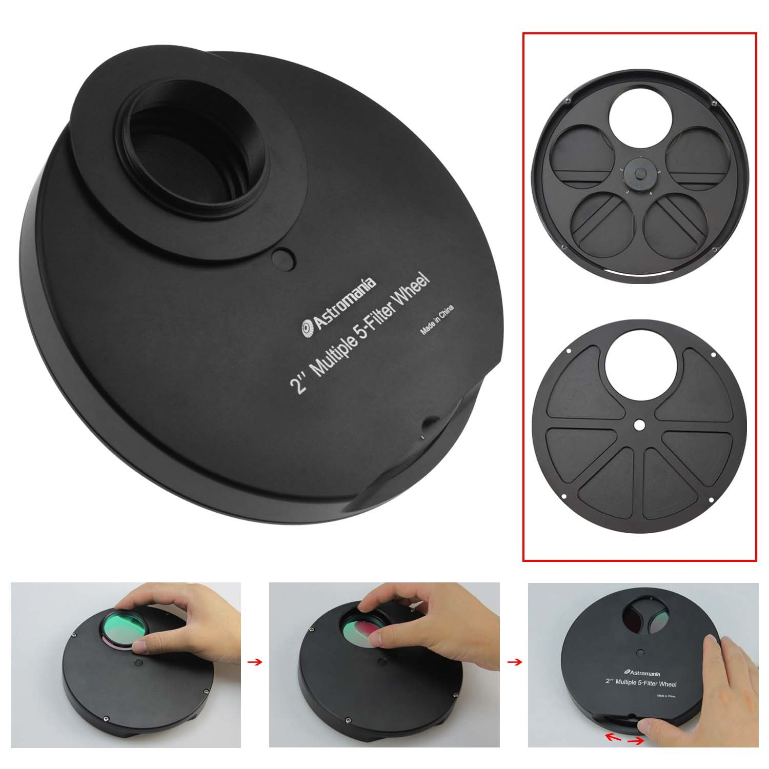 Astromania 2'' Superior Quality Multiple 5-Position Filter Wheel For Telescope - allowing you to image without any reflections or stray light by Astromania (Image #5)