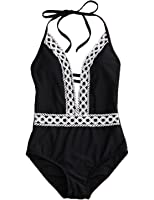 Womens One Piece Floral Lace Halter Push-up Padded Monokini Deep V Neck Swimsuit