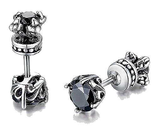 570e7b004d5e74 Beydodo Mens Earrings Zirconia Reversible Black Earrings for Men Screw Back  Stainless Steel Piercing