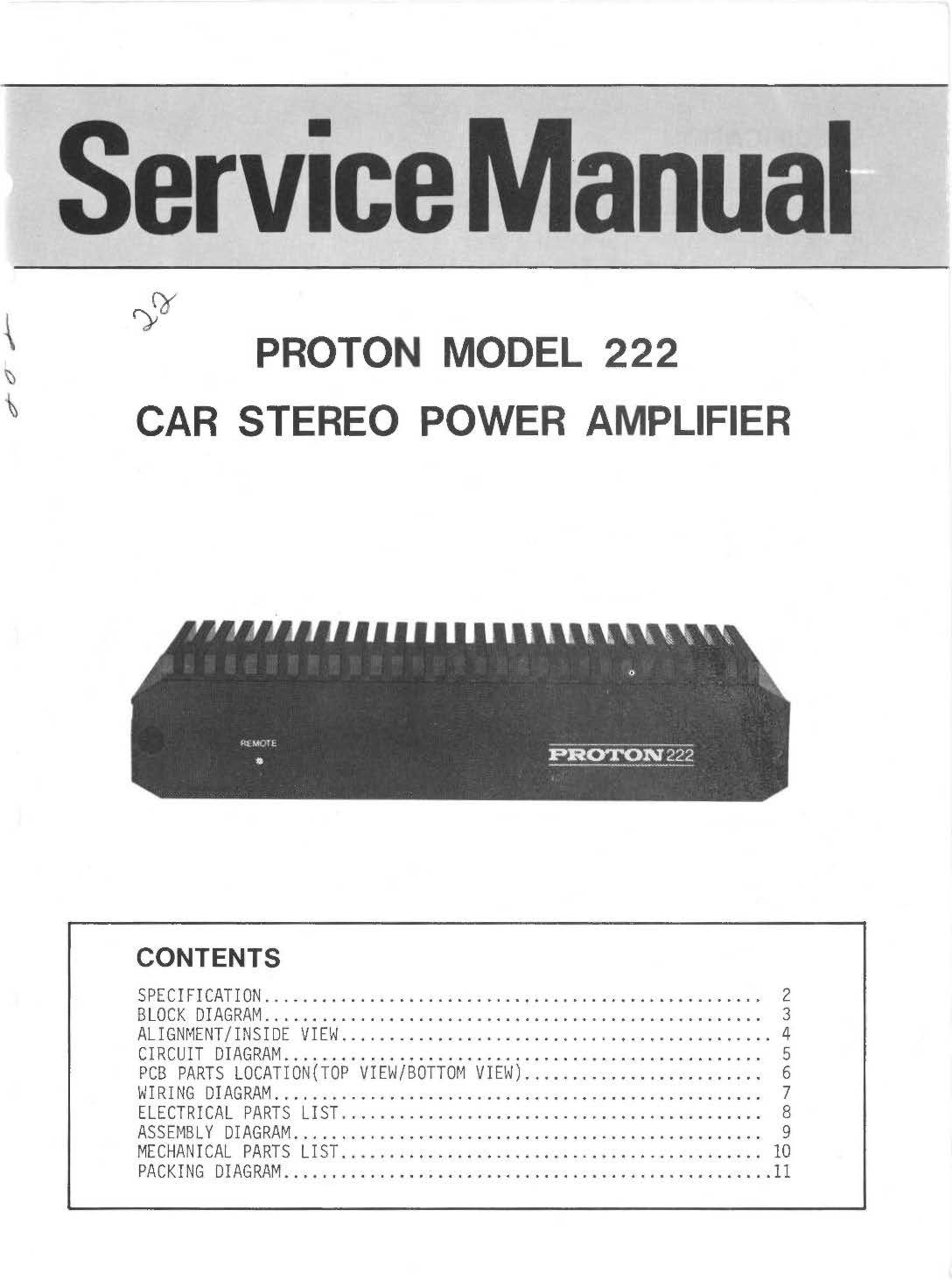 Proton Model 222 Car Stereo Power Amplifier Books Block Wiring Diagram