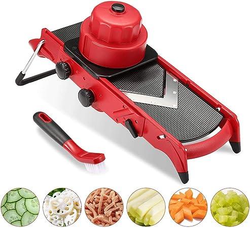 Cortador de patatas fritas Prop con hoja en V, cortador de verduras ajustable, cortador de verduras 3 en 1, tiras (6/9 mm), discos (1 – 6 mm), dados (cuadrados/rombos) fácil de poner: Amazon.es: Hogar