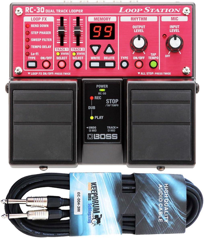 Boss RC de 30Dual Loop Station Pedal Keepdrum Guitarra Cable 3m