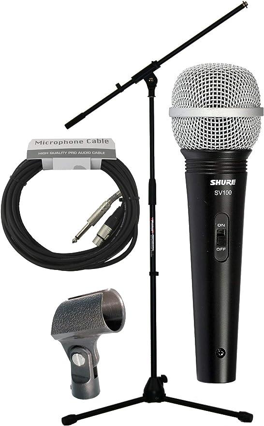 Pack de microfono, soporte jirafa, microfono Shure SV100, cable 6m ...