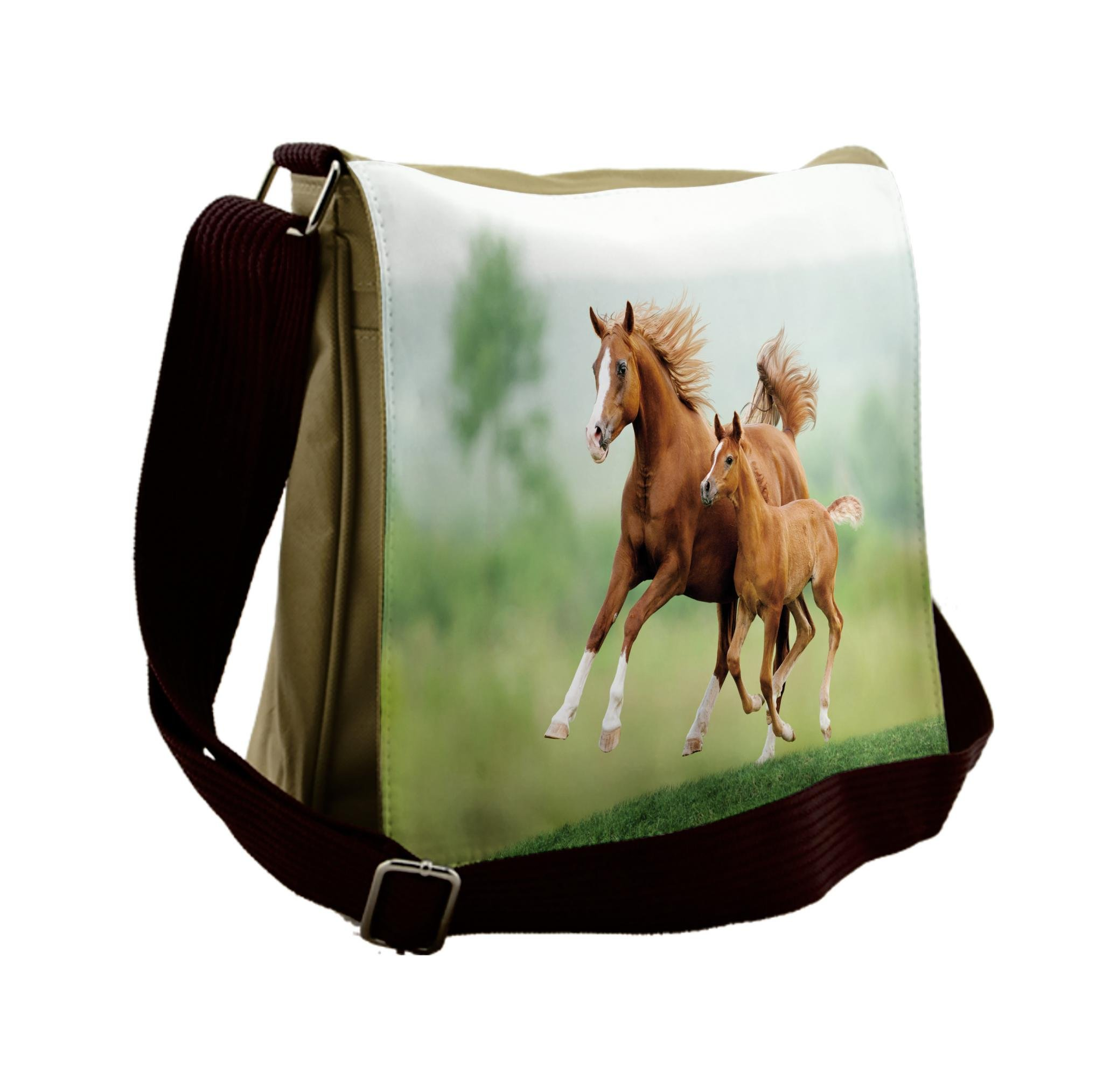 Lunarable Horse Messenger Bag, Mare and Foal Summer Meadow, Unisex Cross-body