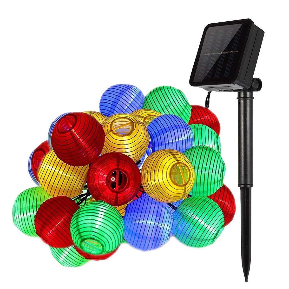 Lichterkette außen,DeepDream Solar Lichterkette bunt Lampion Lantern 6 Meter 30 LED Lichterketten Aussen wasserdichte Gartenbeleuchtung für Partys, Hochzeiten, Halloween, Weihnachten und andere Innen und Außenbeleuchtung Dekoration[Energieklasse A+++] Lich