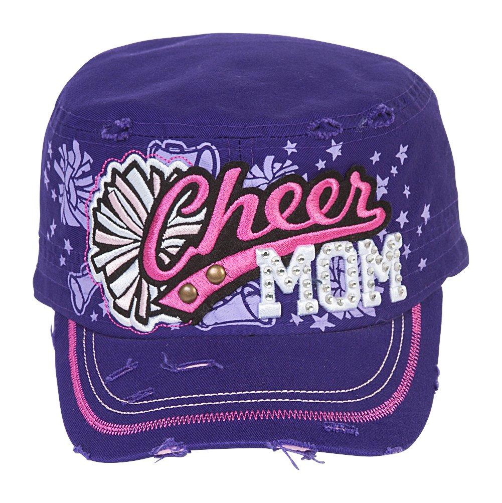 TopHeadwear Cheer Mom Distressed Adjustable Cadet Cap - Purple