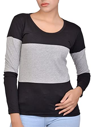 58c3ac154 Fubura Womens Cotton Casual T-Shirts Round Neck Sports Trim Full Sleeve  with Black Grey