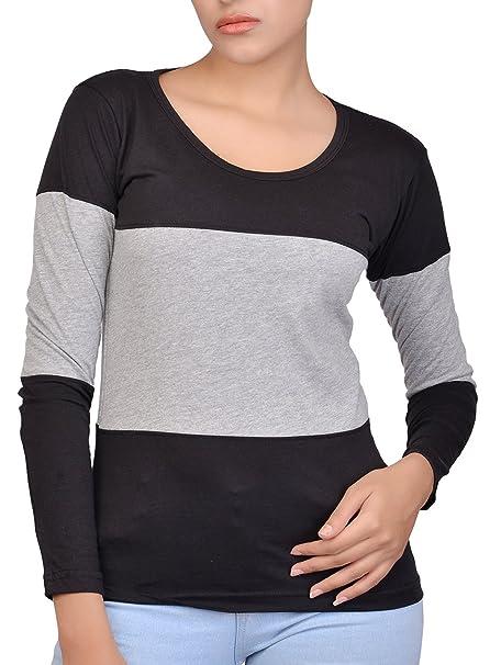 b13c471ec29 Fubura Womens Cotton Casual T-Shirts Round Neck Sports Trim Full Sleeve  with Black Grey
