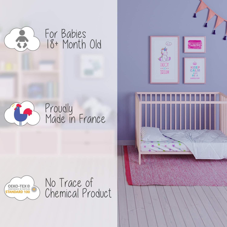 Edredon Nordico para Cuna Mayores de 18 meses Set de Edred/ón para Cuna 75 x 120 cm y Almohada Cuna Bebe 60x120 cm Fabricado en Francia Certificado sin Productos Qu/ímicos