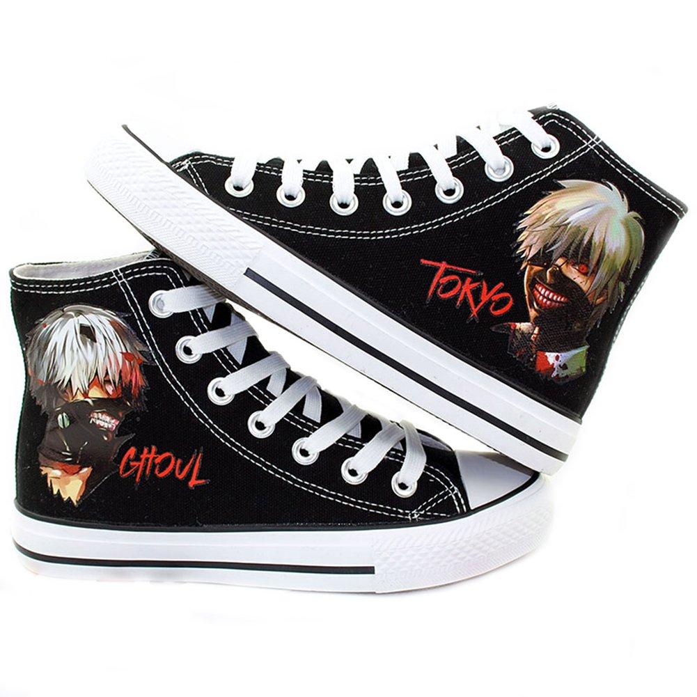Telacos Modell Tokyo Ghoul Anime Kaneki Ken Cosplay Schuhe Leinwand Schuhe Turnschuhe Schwarz Weiß