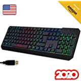 KLIM™ Chroma Gaming Keyboard QWERTY US Wired USB - High Performance - New Version - Chromatic Lighting Gaming Black RGB PC PS4 Windows Mac