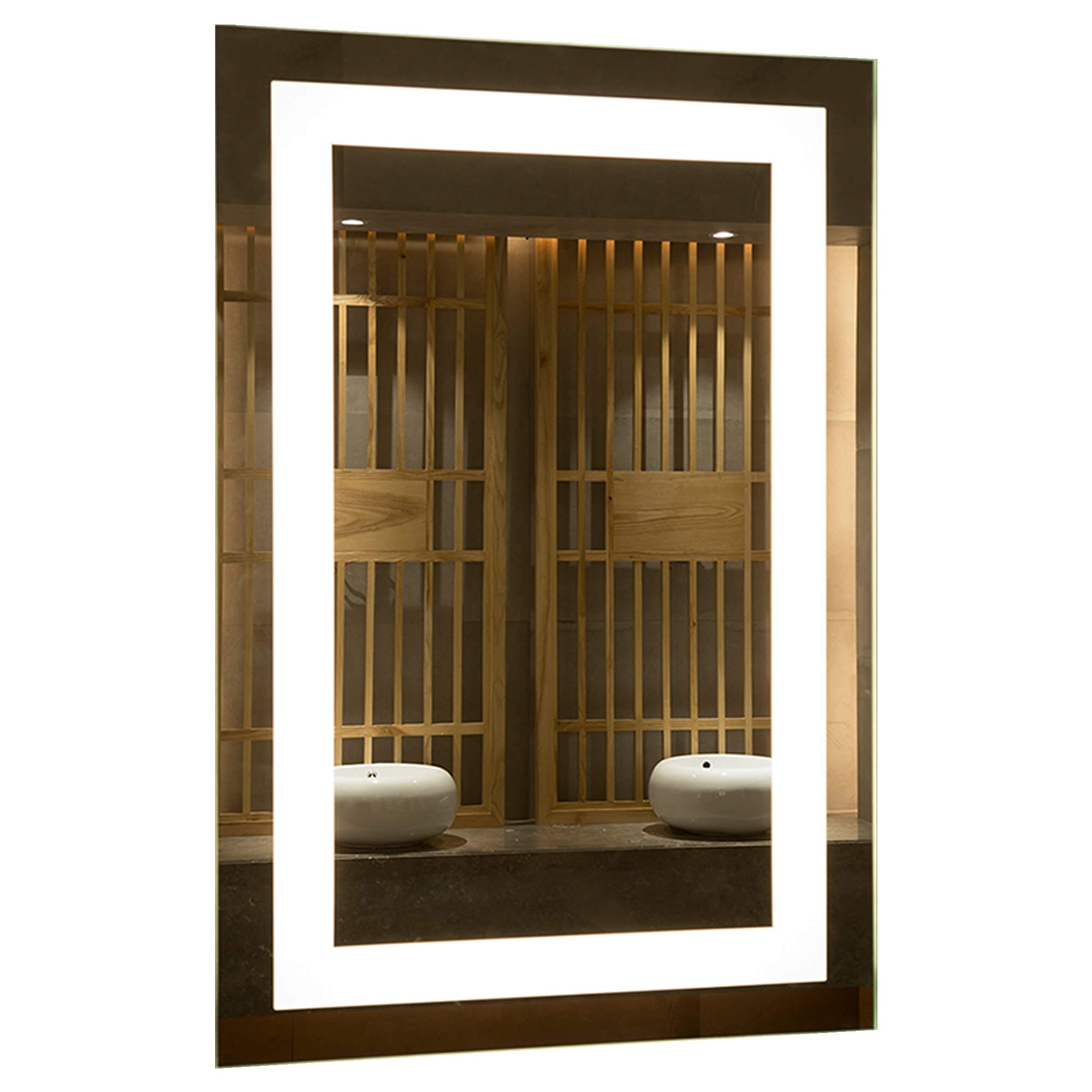 Mirrors and More LED Backlit Wall Mirror | Frameless Polished Edge Silver Backing with Rectangle Illuminated Frosted Strip | Vanity | Bathroom | Makeup | 24'' X 36''
