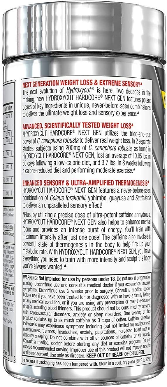 Hydroxycut Hardcore Next Gen, Scientifically Tested Weight Loss and Energy, Weight Loss Supplement, 100 Capsules: Health & Personal Care