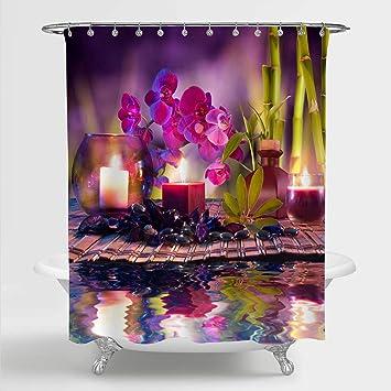 Spa Shower Curtain Asian Zen Stones Plumeras Print for Bathroom