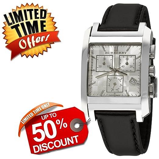 Burberry Hombres Unisex mujeres reloj cuadrado rectangular de lujo de Suiza Cronógrafo de acero inoxidable FECHA plata Dial Negro Correa de cuero reloj de ...