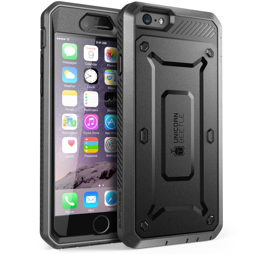 IPhone 6S Case, SUPCASE Apple IPhone 6 Case/6S 4.7 Inch [Unicorn Beetle Pro] Rugged Holster Cover with Builtin Screen Protector (Black/Black)