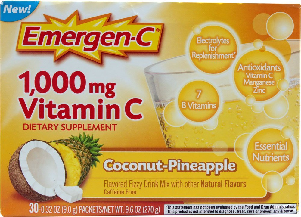 Emergen-C 1000 mg Vitamin C, Coconut Pineapple 30 ea Pack of 3
