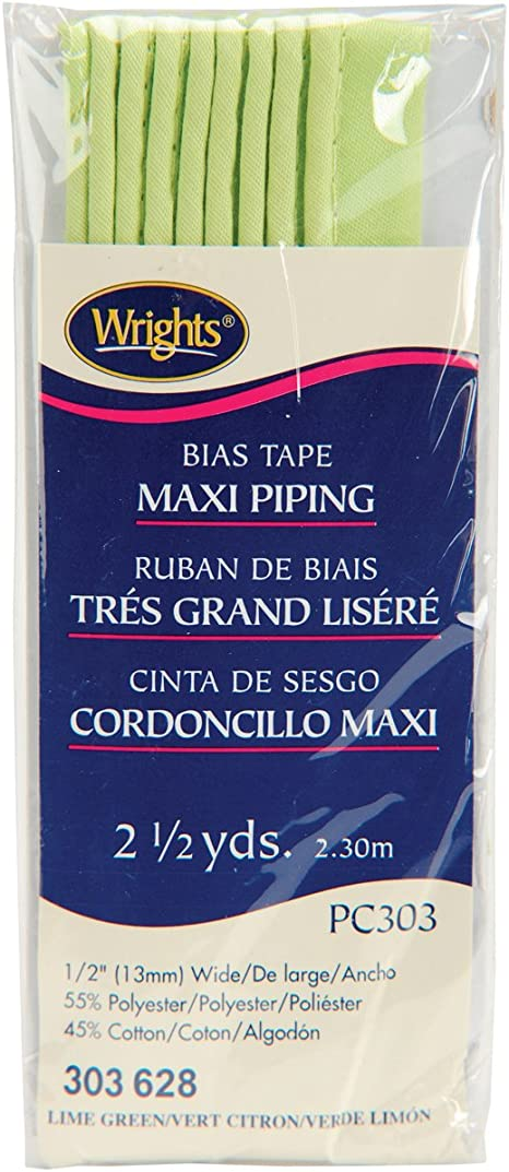 Wright Products 117-303-628 Wrights Maxi Piping Bias Tape Lime Green 2-1//2 yd