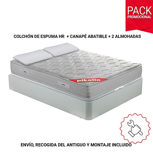 PIKOLIN Pack Colchón viscoelástico Espuma HR 135x190 canapé Base abatible Blanco y Dos Almohadas de Fibra