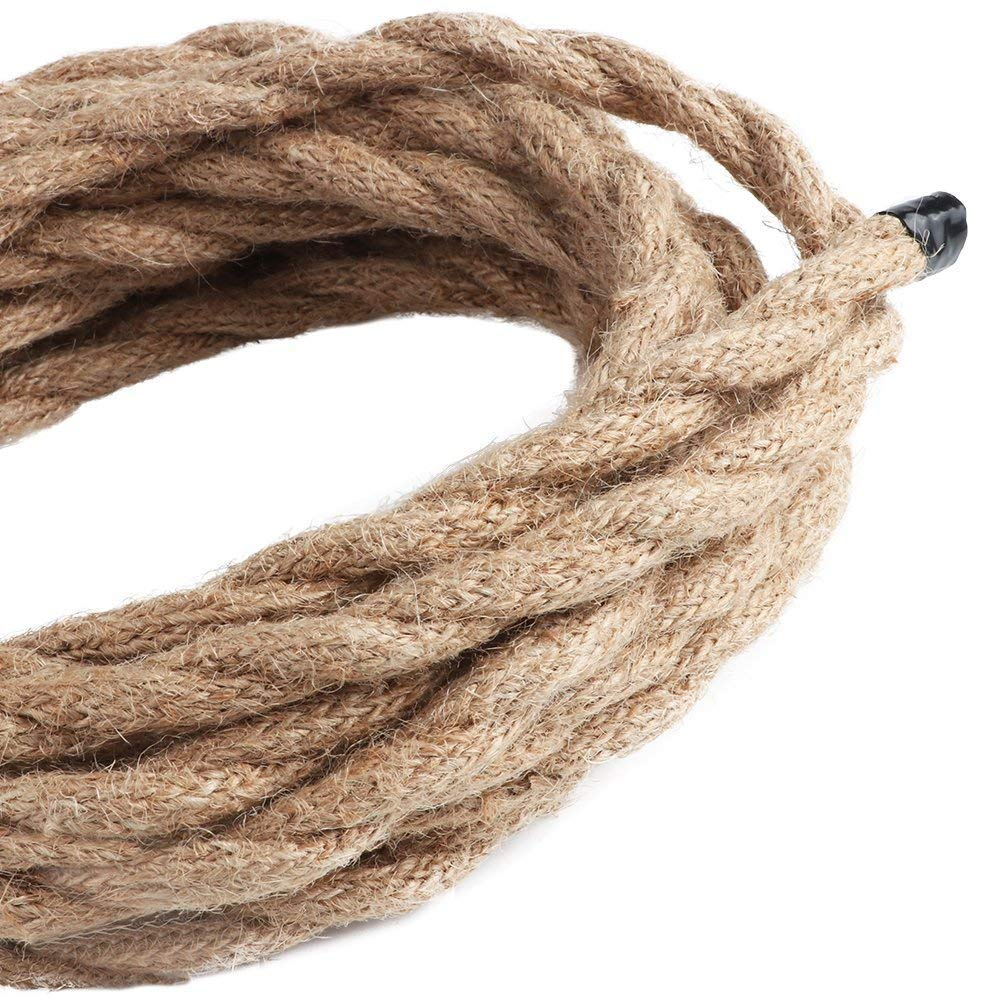 Acidea Electric Rope Light Cord 16.4ft Linen Covered 2 core Copper Wire Antique Industrial Electrical Wire,Natural Hemp Rope Covered Wire Vintage Style Lamp Cord Strands