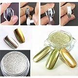 Elite99 2pcs Mirror Chrome Powder Gold Silver Pigment Nail Glitter Effect Nail Art Shine Manicure Salon Tips 1g/Box (Gold + Silver) with Sponge Stick