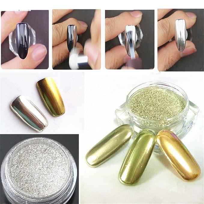 Noza Tec - 2pcs Espejo Cromado pigmento en polvo oro plata uñas ...