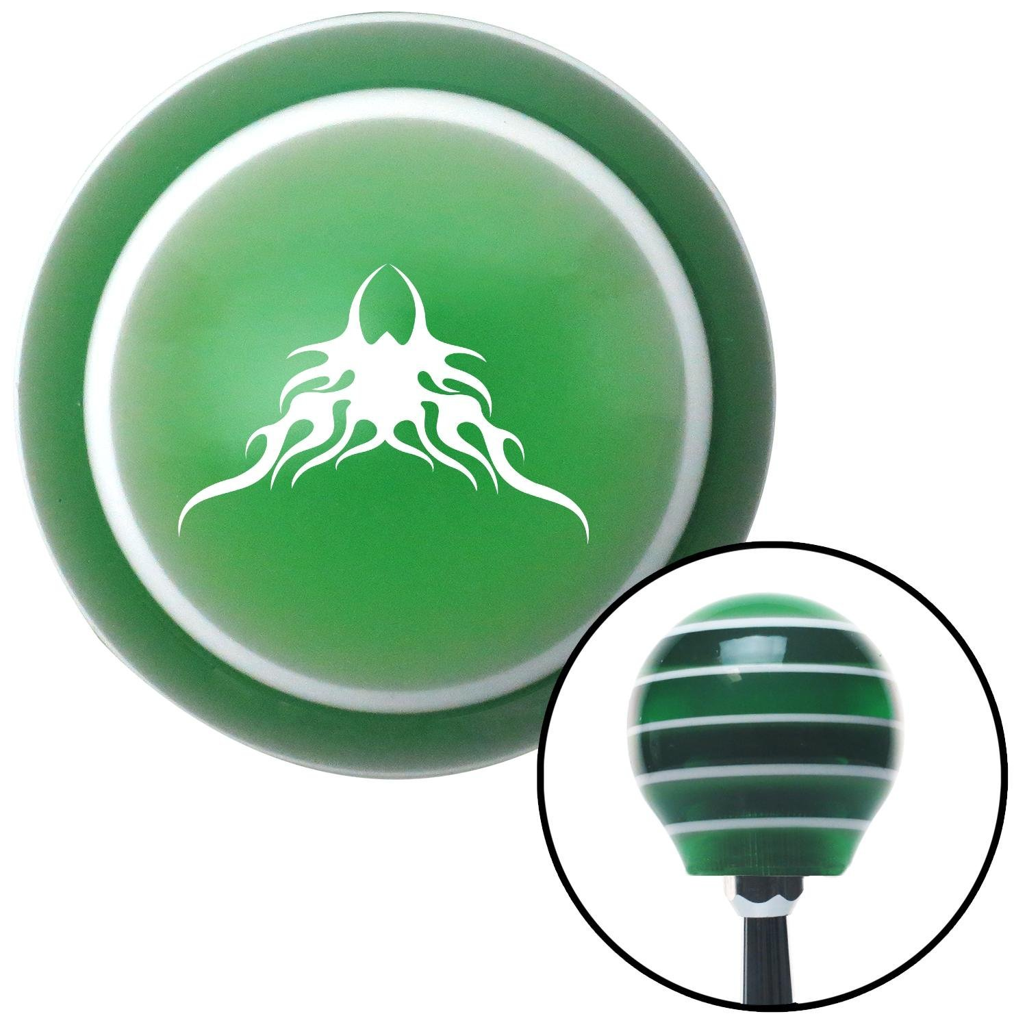 White Large Tribal Flames American Shifter 122334 Green Stripe Shift Knob with M16 x 1.5 Insert