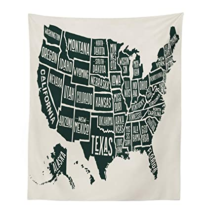 Lunarable USA Tapestry, Black and White Style United States of America Map  with Written State Names, Fabric Wall Hanging Decor for Bedroom Living Room  ...