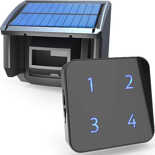 1 4Mile Solar Driveway Alarm System-Up to 50FT Wide Sensor Range 3 Adjustable Sensitivities-Fully Weatherproof Outdoor Motion Sensor Detector DIY Security Alert System